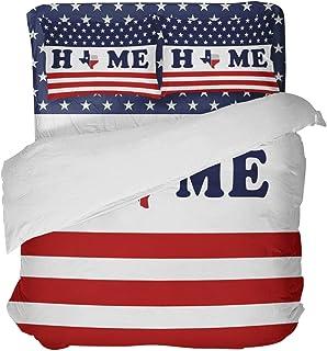 LnimioAOX Bandera Americana en Texas Map Patriot 3 Piezas Juego de Funda nórdica con 2 Fundas de Almohada Decorativas Colcha Sábanas
