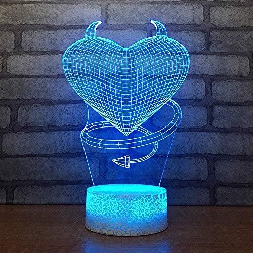 3D Luz nocturna para niños Lámpara de luz nocturna Cracked Arrow Heart Steampunk para hombres, mujeres, niños, niñas, regalo Con interfaz USB, cambio de color colorido