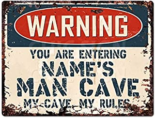 Warning Name's Man CAVE Custom Personalized Chic Sign Vintage Retro Rustic 9