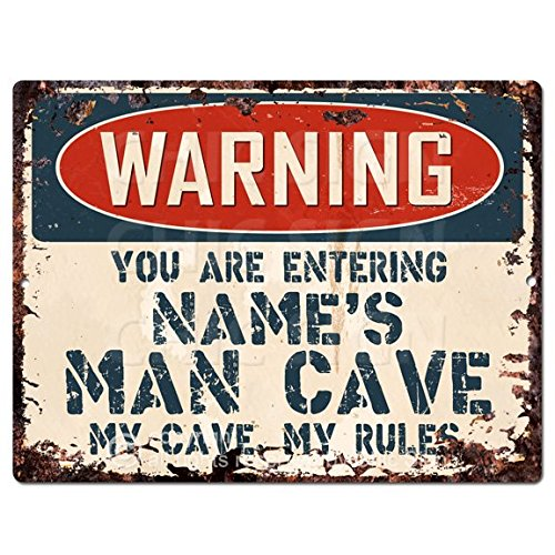 Warning Name's Man CAVE Custom Personalized Chic Sign Vintage Retro Rustic 9'x 12' Metal Plate Store Home Man cave Funny Decor Gift Ideas
