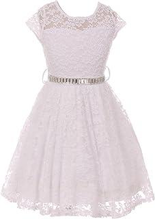 91ab06415f1a Little Girl Cap Sleeve Lace Skater Stone Belt Flower Girls Dresses