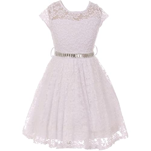 2873f88ab51 Little Girl Cap Sleeve Lace Skater Stone Belt Flower Girls Dresses