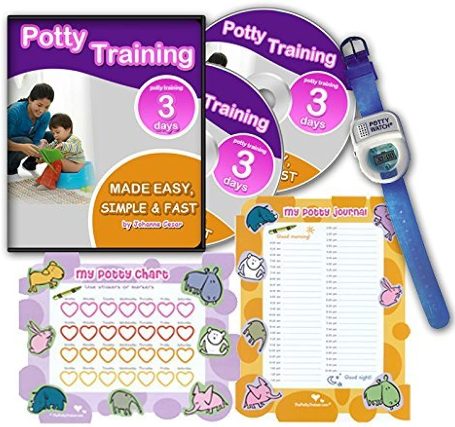 Potty Training In 3 Days - Ultimate Potty Training for Boys. Complete Kit Includes Potty Training In 3 Days Audio Guide, Laminated Potty Training Charts & 青 Potty Time Watch (青) by The Potty Trainer