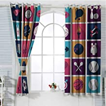 FreeKite Olympics Blackout Curtains for Bedroom Sports Icons Image with Whistle Stopwatch Bowling and Various Types of Balls Thermal Insulated Soundproof Curtain W107 x L84 Inch Navy Purple