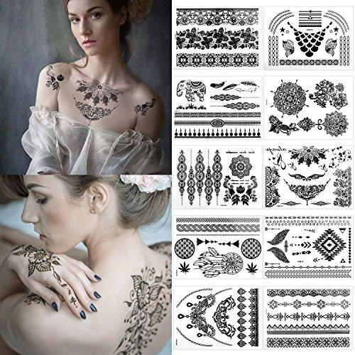 Temporäre Tätowierung, Meersee Temporäre Klebe-Tattoos 10er Set Henna Mandala Schwarz Temporäre Tätowierung Wasserdichte (Schwarz)
