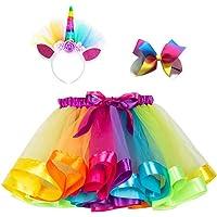 Little Girls Layered Rainbow Tulle Tutu Skirt Unicorn Costume with Unicorn Headband Hair Bow & Satin Sash