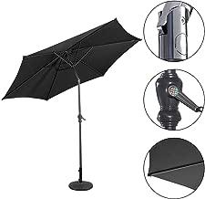 NYW-Zheyangpeng 3M Garden Steel Parasol Metal Crank Patio Outdoor Sunshade Umbrella (Black)