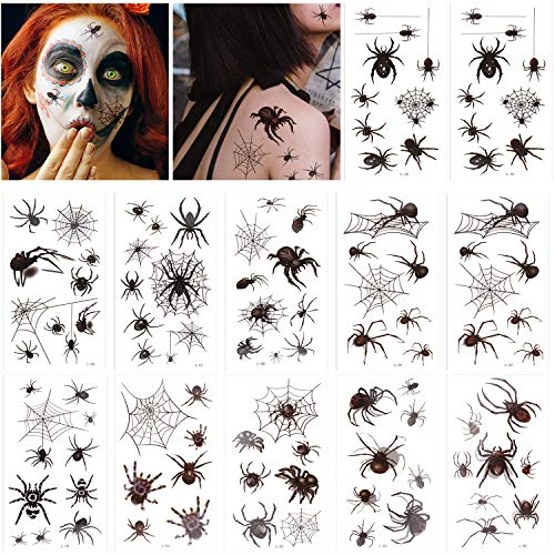 Halloween Deko,TemporäRe Schwarz Spinnen Tattoos,Gesicht Tattoo Halloween Spinnennetz ZubehöR Verkleidung 12 PCS füR Halloween Masquerade Karneval,Punk Party,Damen,Cosplay