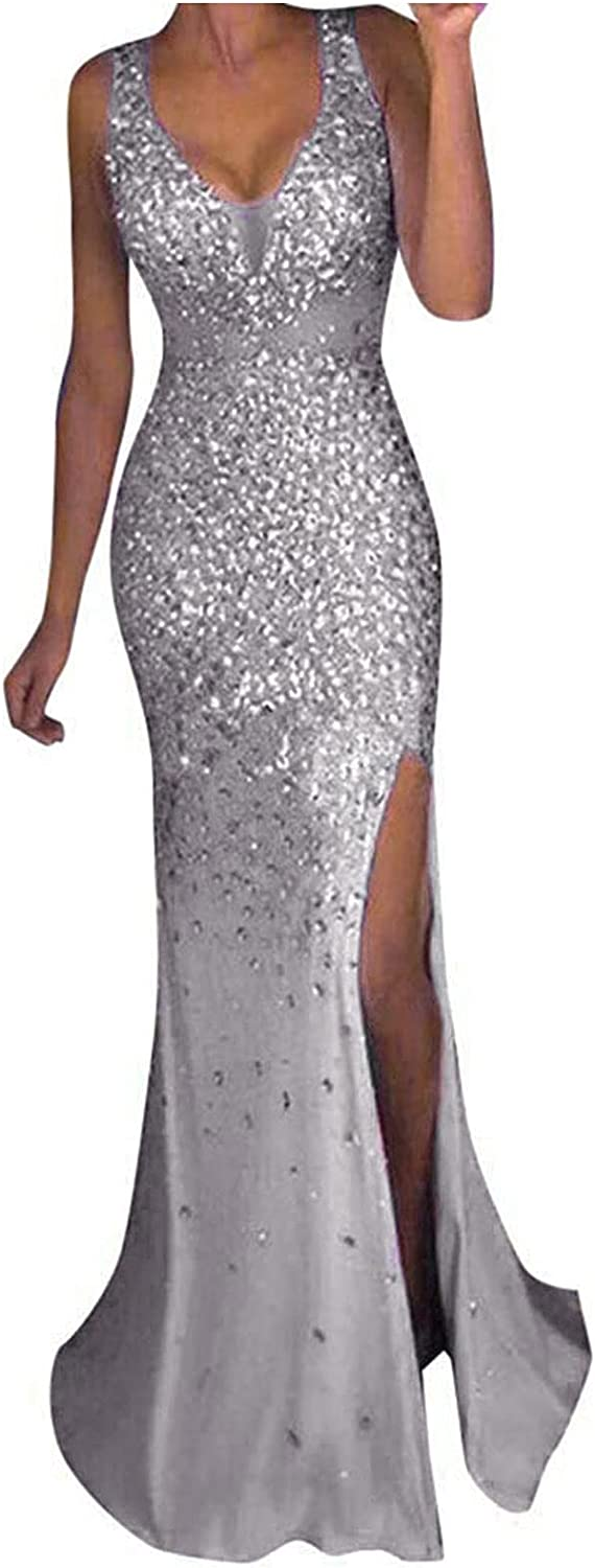Summer Dresses for Women Casual Sequin Prom Dress V Neck Party Ball Gown Sexy Wedding Guest Dress Slim Split Maxi Skirt