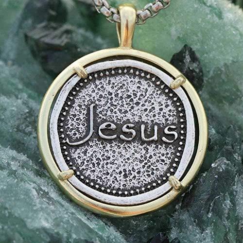 ZGYFJCH Co.,ltd Collar Cristiano Collar Jesús Colgante Hombres Bautismo sobriedad Regalo fe Esperanza Jesús Amor joyería Religiosa