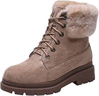 Benficial Women's Winter Warm Boots Women's Retro Ankle Lace Up Round Toe Turned Over Edge Sewing Boots