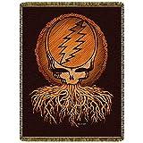 Little Hippie Grateful Dead Roots Steal Your Face Woven Cotton Blanket (Black)
