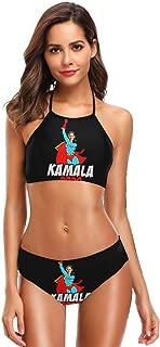 Lomoney Women's Sexy Split Bikini Set Halter Printed with Kamala 2020 Swimsuit Black