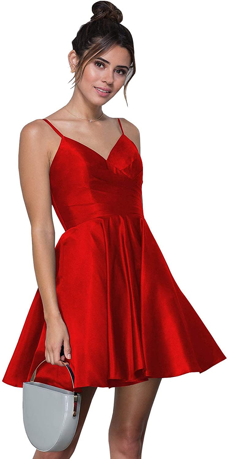 WuliDress Women's Spaghetti Strap V Neck A Line Pleated Short Homecoming Dress Satin Formal Prom Evening Gown with Pockets
