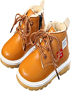 Hopscotch Baby Boys PU Lace Up Ankle Length Boots in Yellow Color