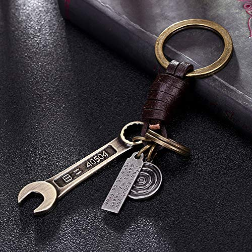 Metal Brass Tool Spanner Toy Pendant Keychain For Men's Motorcycle Car Keys Bag Briefcase Leather Key Ring Holder Trinket Charms
