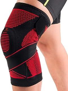 Kuangmi(カウアミ)膝サポーター 膝固定 関節靭帯保護 半月板損傷回復に 運動用 バレー ウォーキング 登山 バスケット ジムトレー 弾性ストラップ固定 シリコンパッド付き 一枚入り