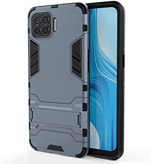 Funadd Cellphone Protective Case, Compatible for OPPO F17 Pro PC + TPU Shockproof Protective Case with Holder Back Cover Case