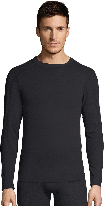 Hanes Men's Waffle Knit Thermal Crew Neck Long Sleeve T-Shirt FreshIQ, X-Temp Technology & Organic Cotton