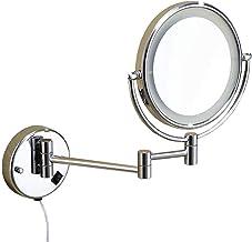 Makeup Mirror Makeup Mirror 3X Magnification Extendable Bathroom Mirror LED Lighted Folding Round Shape Shaving Mirror Sha...