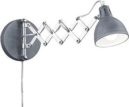 Wandleuchte Merle Metall Ausziehbar Scherenarm Schwarz Wandlampe Leseleuchte E14