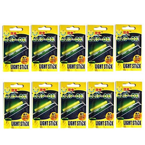 QualyQualy Knicklichter für Angeln 20 Stück in 10 Tütchen Knick Lichtern Knicklicht für Angelruten, Clip-On Knicklicht Knicklichter (20 Stück #M: 2.0-2.6mm)