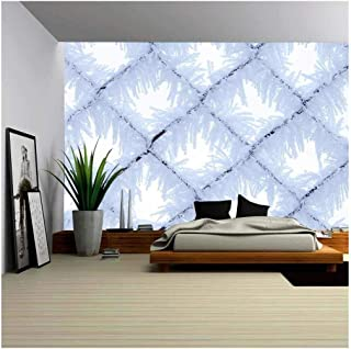 wall26 - Fence with Frost Close-Up - Removable Wall Mural | Self-Adhesive Large Wallpaper - 66x96 inches