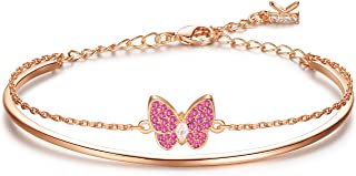 KIMILILY Butterfly Charm Birthstone Bracelets for Women,Gifts for Women Girl,Rose Gold Jewelry Crystals from Swarovski wit...