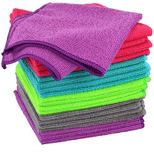 com-four® 20x Mikrofasertuch, Reinigungstuch für z.B. Haushalt, Auto, PC und Handy, Wiederverwendbare Putztücher aus Microfaser in 5 Farben (30x30cm - 20 Stück)