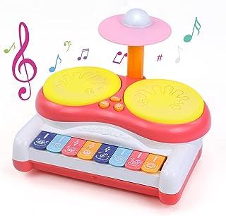 Kzai Instrument de Musique Enfant Tambour Bebe Piano Bebe avec Batterie Musique Enfant Lumière Flash Beats Jeux Bebe Jouet...
