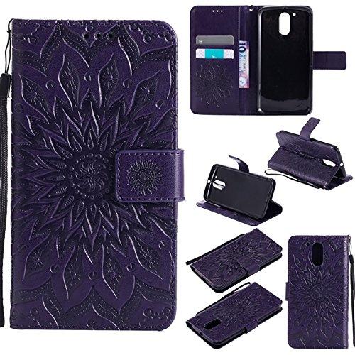 Sun Flower Printing Design PU Leather Flip Wallet Lanyard Funda protectora con ranura para tarjetas/soporte compatible con Motorola Moto G4/G4 Plus (Color: Púrpura)