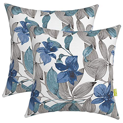 """LVTXIII Outdoor Accent Patio Toss Pillow Covers, Tropical Throw Pillow Case Sham, Square Cushion Covers for Indoor Outdoor Use 2 Pack, 17"""" x17"""" –Simply Daisy Blue"""