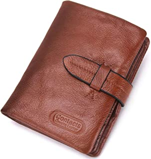 Leather Bifold Wallets for Men Slim - Money Clip Wallets for Men with ID Window - Brown Credit Card Holder Coin Purse - Pe...