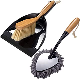 2Pcs Brush and Dust Pan Set and Handheld Duster for Floor Desk Cleaning Comfort Grip Multi Function Dust Broom Brush for Car with Bamboo Handle