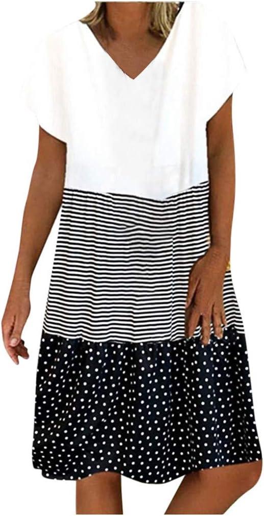 Eoailr Women's Cotton Atlanta Mall Linen Patchwork V Mini Summer C Dress Neck New Shipping Free