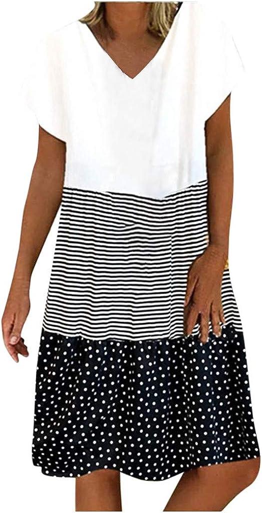 Women's V Neck Tshirt Dress Splicing Strips Swiss Dot Patchwork Short Sleeve Loose Casual Midi Dress