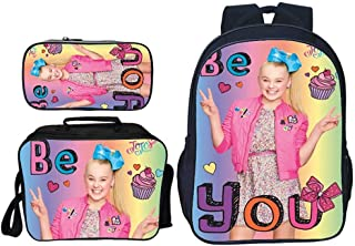 3PCS Backpack Sets Jojo Siwa Prints 3pcs Primary Schoolbag Shoulder Bag+ Pencil Case for Girls 7-15 years old Childrens