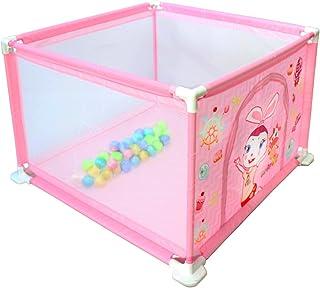 deAO Parque de Juegos Infantil Corralito para Bebé Incluye Bolas de Colores (Cuadrado Rosa)