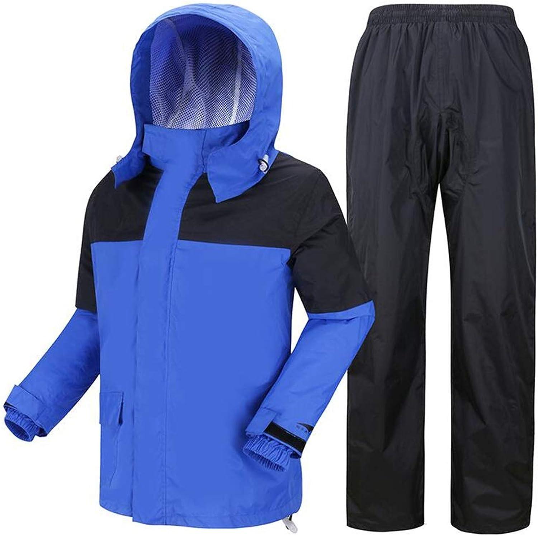 WY Waterproof Suit Raincoat, Adult Men and Women Outdoor Travel Equipment Work Cycling Suit Outdoor (color   bluee, Size   XXL)
