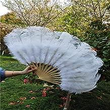 Maslin YY-tesco Black Ostrich and Marabou Feather Fan Burlesque Showgirl & Boudoir Decorative Feather Fan Dance Party Wedding Props - (Color: White)