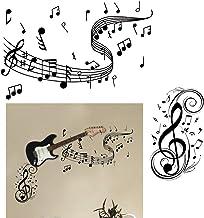 VINFUTUR 2 Sets Muziek Muurstickers Vinyl Muziek Symbolen Muur Art Decal voor Muziek Dans Kamer Woondecoratie