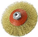 cepillo circular cónica para amoladora angular. Hilo de acero ondulado de alta resistencia.