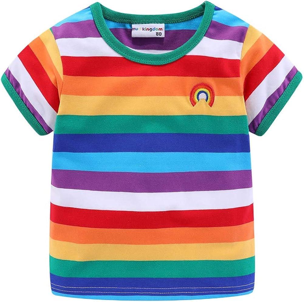 LittleSpring Boys Girls Rainbow T-Shirt Colorful Stripe Unisex