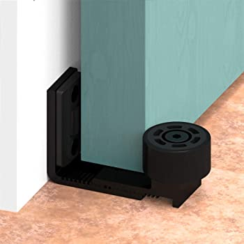 Guía de piso ajustable para puerta y pared inferior de puerta corredera, accesorios de hardware para puerta de granero, color negro: Amazon.es: Bricolaje y herramientas