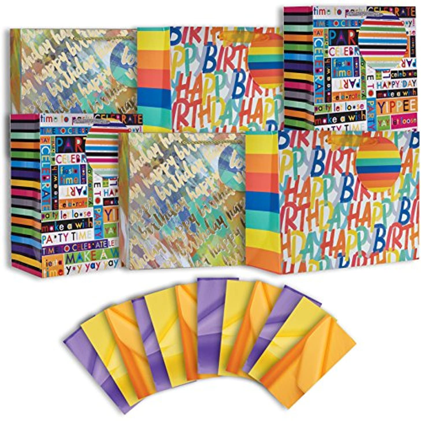 Jillson Roberts 6-Count Large Birthday Gift Bags in Assorted Designs with Tissue, Make a Wish