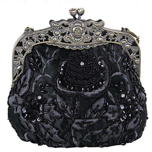Belsen Womens Vintage Beaded Sequin Flower Evening Handbags