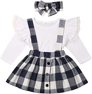 2Pcs/Set Christmas Baby Girl Long Sleeve Tops+Overalls Strap Dress Outfits Toddler Clothes (White Flutter Long Sleeve top+Black Plaid Halter Dress+Headband, 3-4 Years)