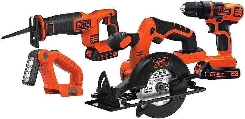 BLACK DECKER 20V MAX Cordless Drill Combo Kit 4 Tool BD4KITCDCRL