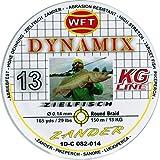WFT Round Dynamix Zander yellow 150m, geflochtene Schnur fürs Zanderangeln, Raubfischschnur, gelbe Angelschnur, Durchmesser/Tragkraft:0.12mm / 11kg Tragkraft