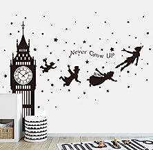 Runtoo Calcomanías de Pared Peter Pan, con Cita en inglés Big Ben Clock Never Grow Up Quotes Stars para habitación de bebé...